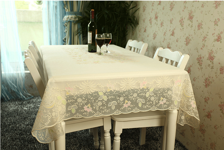 PVC Tablecloths Plastic Wipe Clean Dining Flower Kitchen Rectangular  Waterproof BEIGE BEAUTIFUL Spring Floral
