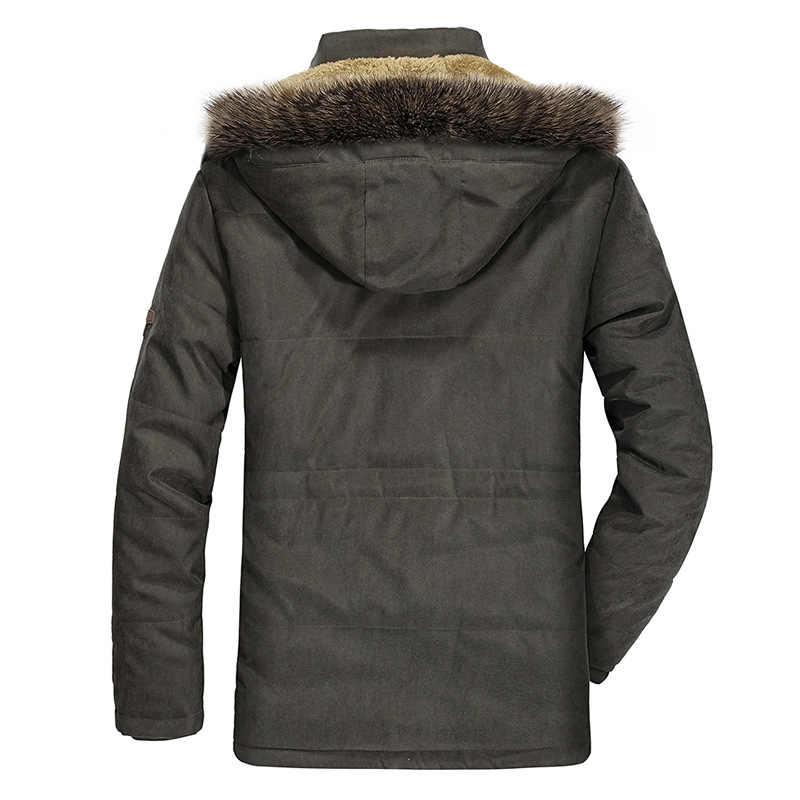 2019 Толстая теплая зимняя мужская куртка, повседневная ветрозащитная Мужская парка размера плюс 6XL, мужская флисовая куртка с меховым воротником и капюшоном