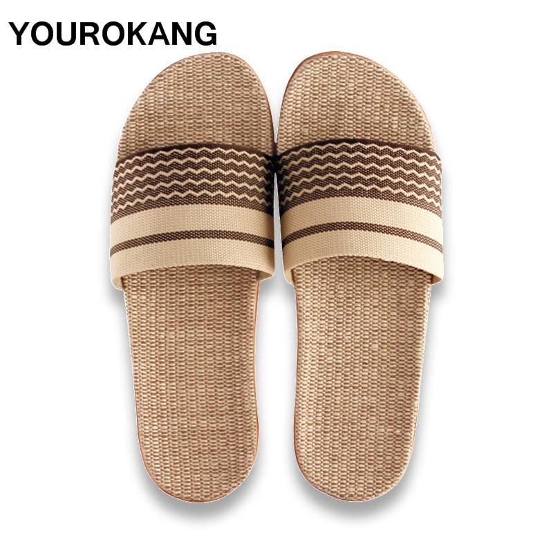 Couple Home Slippers Summer Men Shoes Flax Slippers High Quality New Indoor Floor MaleLinen Slipper Slides Unisex For Lovers