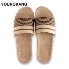 Couple Home Slippers Summer Men Shoes Flax Slippers High Qua