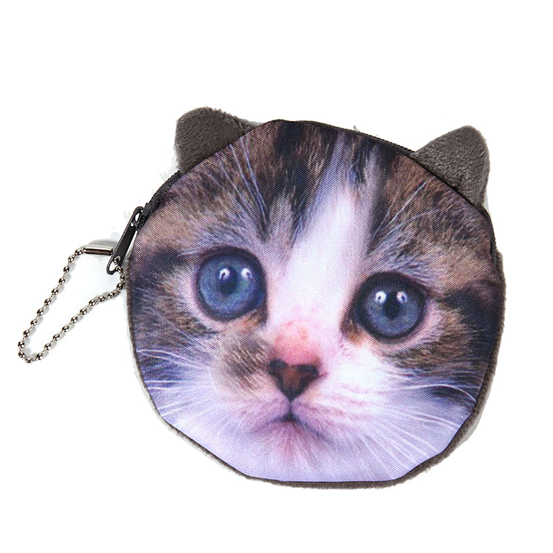 NEW Printed   Cat Face Zipper Coin purse  wallet  bag  coin pouch children's purse women coin wallet 2pcs lot new fashion animal 3d cat dog printing coin purse 100% polyester zipper wallet brand women bag monederos wallet