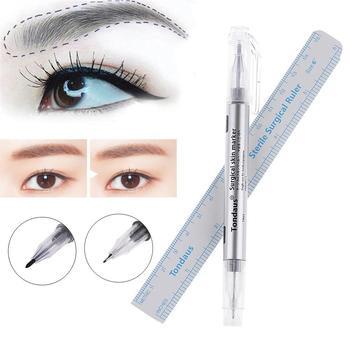 Eyebrow Eye Makeup With Measuring Tools 2Pcs/Set Art Brow Ruler Waterproof Liner Body Marker Measure Skin Lip Tattoo marking tools