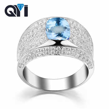 QYI Sky blue Topaz Engagement Ring Genuine 925 Sterling Silver Male and female general ring Wholesale Jewelry colorful gems - DISCOUNT ITEM  40% OFF All Category