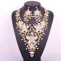 Flor moda nupcial conjunto de jóias de casamento para noivas limpar declaração colar cristal brinco set acessórios das mulheres do partido do baile de finalistas