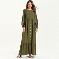 2019 Muslim Dress Women Islamic Clothing Moroccan Kaftan Open Breastfeeding Embroidery Abayas Robe Dubai Abaya Turkish Clothes