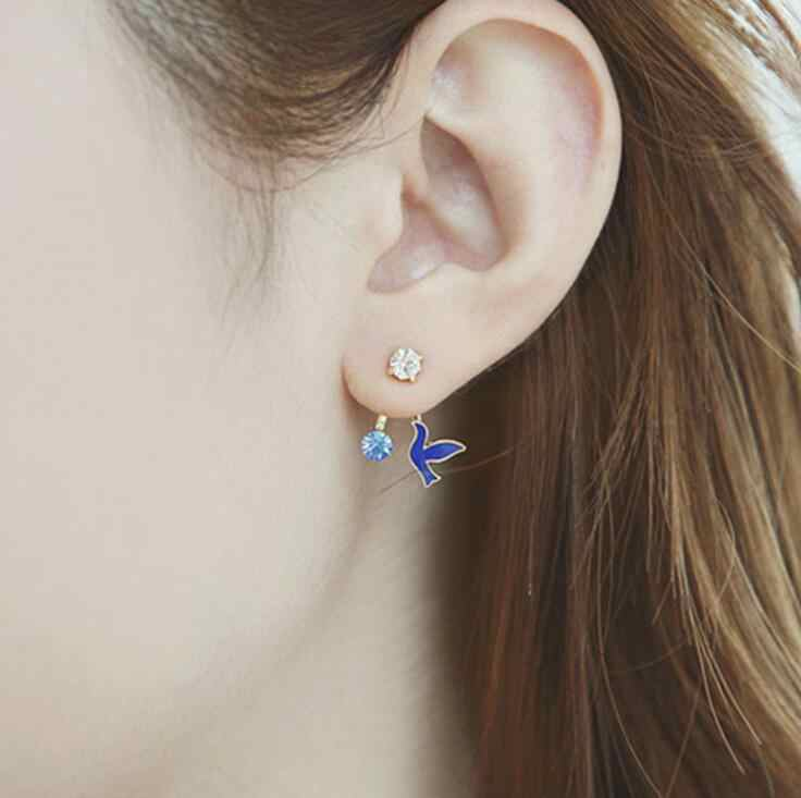 4 Colors Hot Fashion Vintage Crystal black white birds Stud Earrings for Women Party Christmas Gift Animal Earrings femme 2018