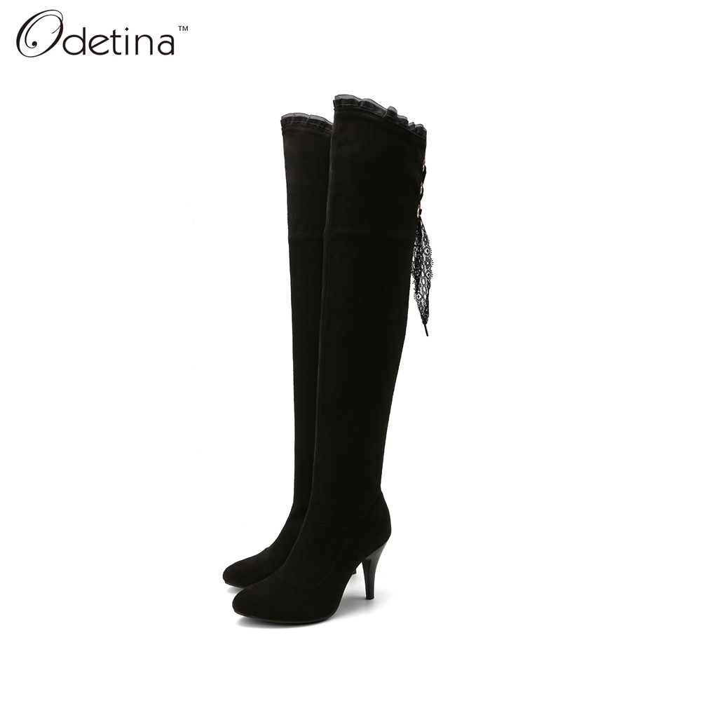 ФОТО Odetina 2016 Handmade Large Size Suede Thin High Heels Over The Knee Boots for Women Pointed Toe Long Boots with Side Zipper