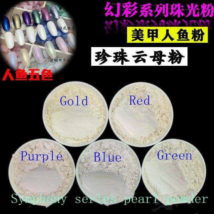 100g Mix 5 Farbe Symphonie Serie Perle Powder Perlenpulver Glimmerpigment Toner Lidschatten Pulver Glitter Glimmerpulver Diy Kosmetik Seien Sie Freundlich Im Gebrauch