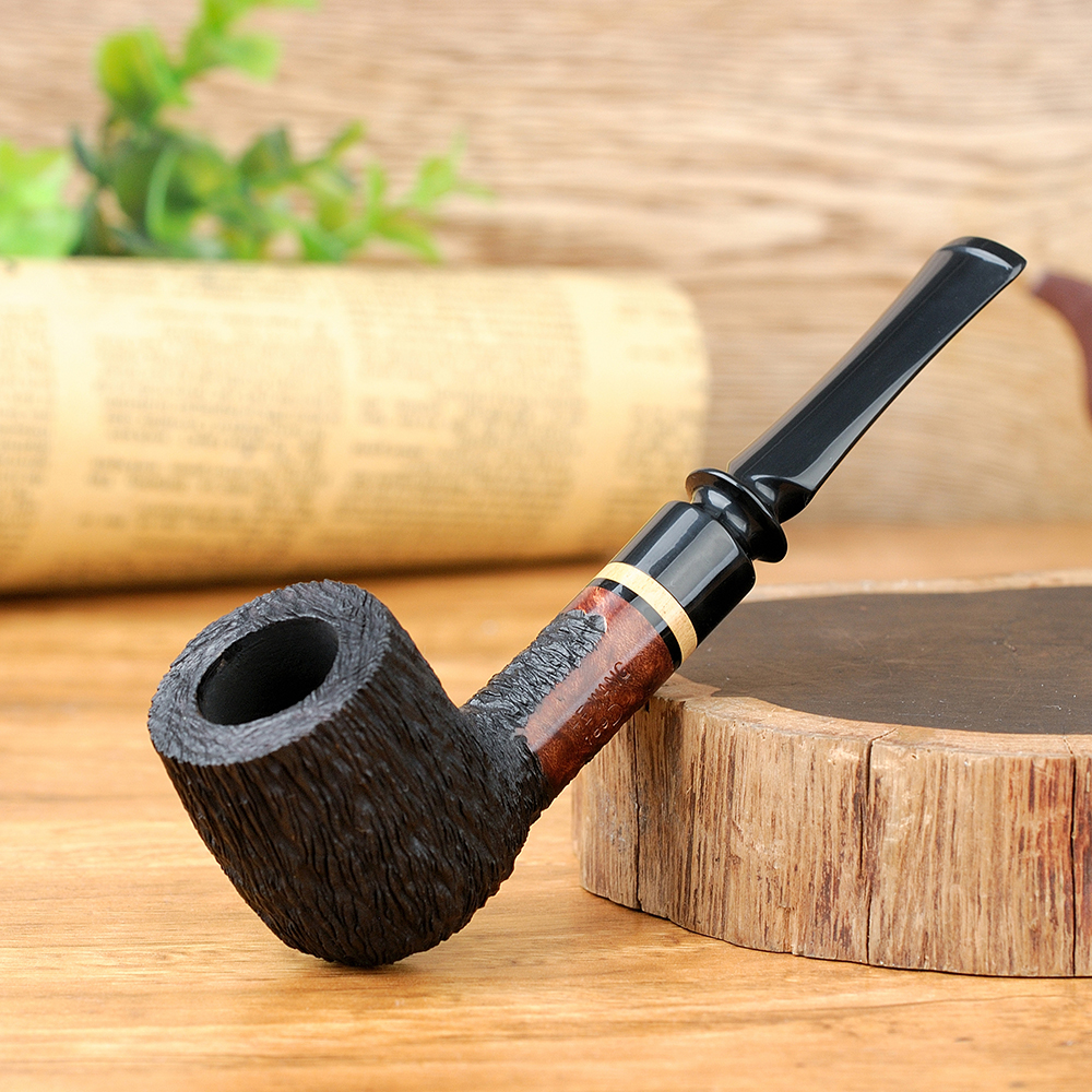 Classic Briar Wood Pipe 9mm Filter Smoking Tobacco Pipe Random Engraved Briar Pipe Smoking Pipe free