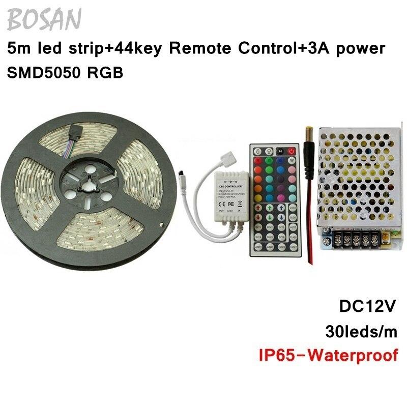 RGB светодиодные ленты 5 м 30 светодиодов/M SMD 5050 Водонепроницаемый Гибкая Освещение + 44key инфракрасный пульт дистанционного управления + DC12V 3A п...