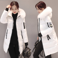 Womens Winter autumn coat  long section large fur collar white thick down cotton sleeve pockets coats A178
