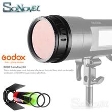 Godox BD 08 Schuur Deur met Honeycomb Grid en 4 Kleur Gel Filters voor Godox AD400Pro Outdoor Flash (Rood Geel blauw Groen)