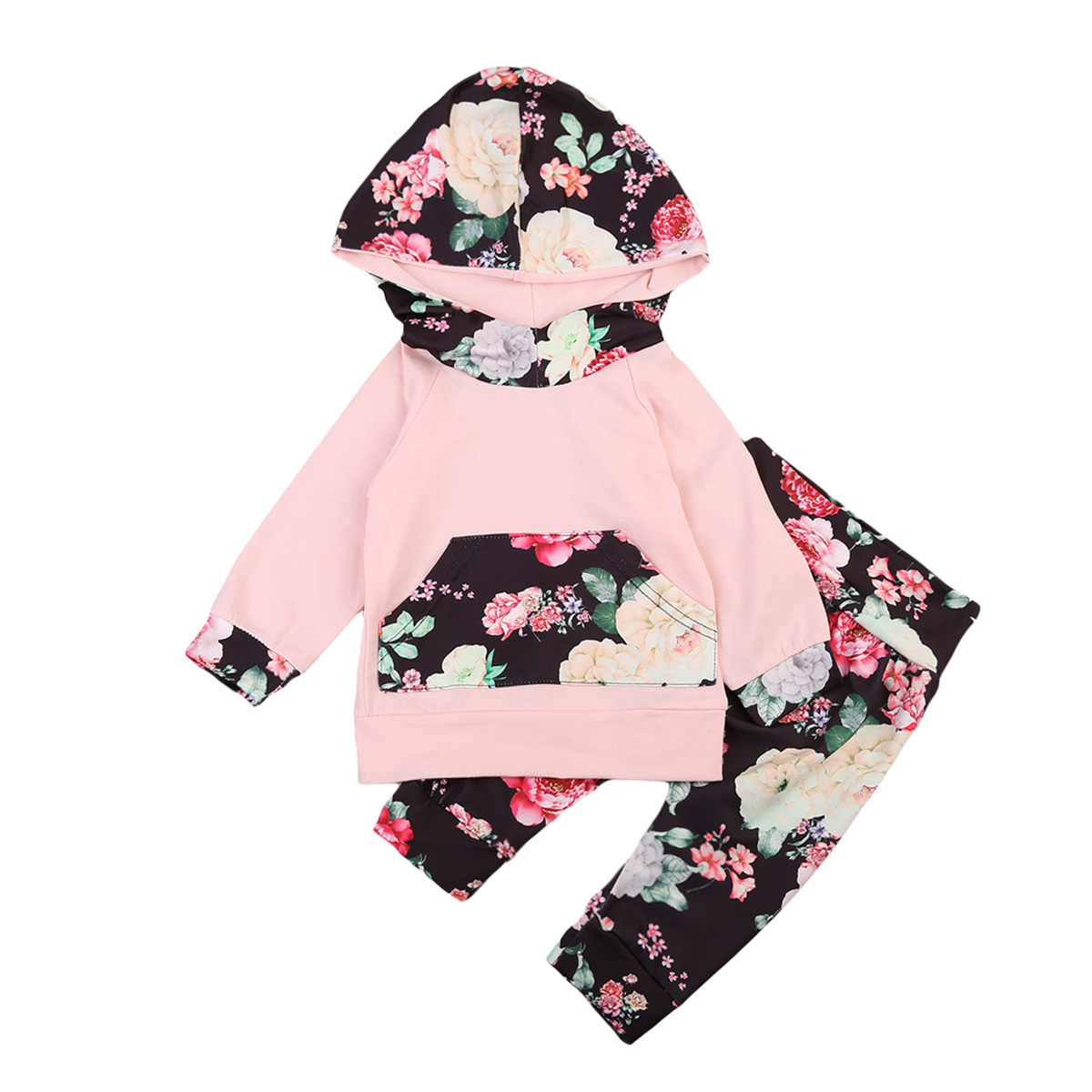 Newborn Toddler Kids Baby Girl Outfits Clothes Hoodie Tops+Pants baby girl baby girl clothes Sets 0-24M