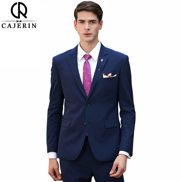 Cajerin 70 Wool Men S Clothing Smart Casual Style Wedding Suit Tailor Blazer Blue Suits