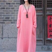 Cotton Linen Autumn Winter Dress Vintage Long Sleeve Loose Midi Dress Casual Swing Jurk Mori Girl