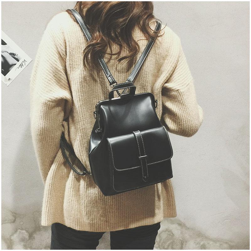 HTB18BANnhPI8KJjSspfq6ACFXXaw LEFTSIDE Brand 2018 Retro Hasp Back Pack Bags PU Leather Backpack Women School Bags For Teenagers Girls Luxury Small Backpacks