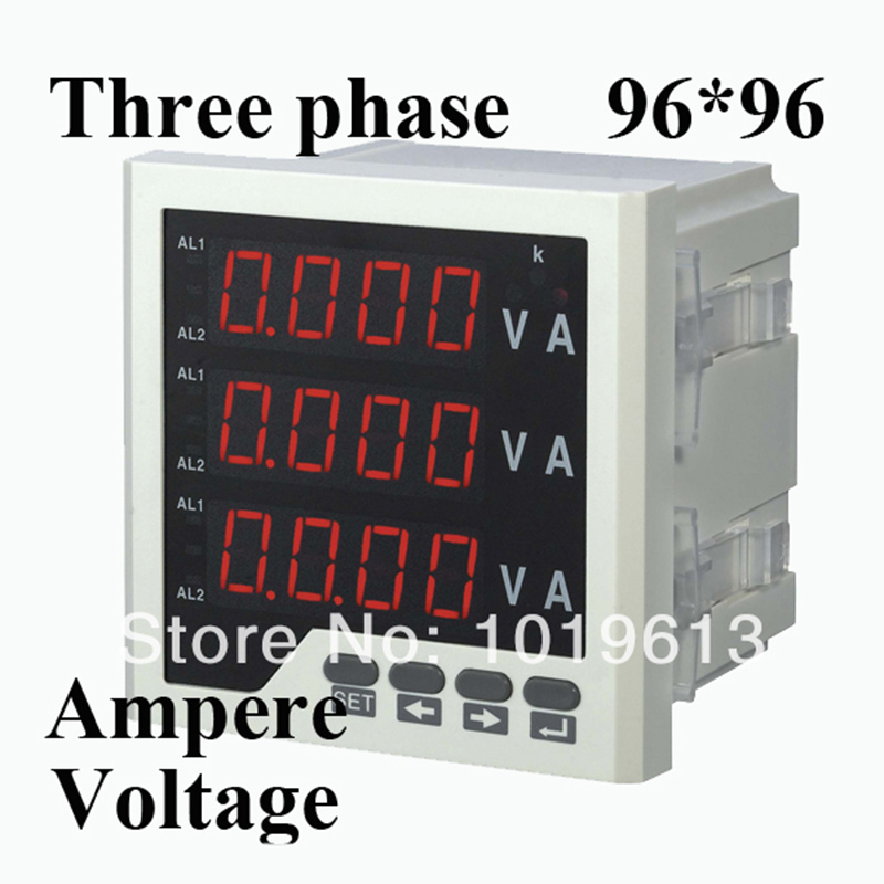 Three phase digital voltmeter ammeter digital ampere panel meter 96*96 LED display combined meter
