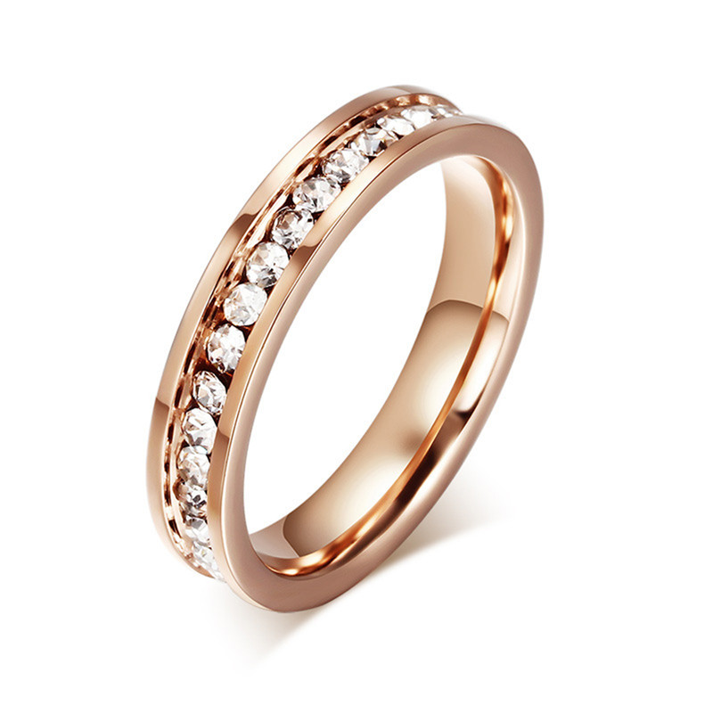 BOAKO Zircon Stainless Steel Rings For Men Women CZ Crystal Ring Rose Gold Wedding Band Engagement Ring Jewelry bague Dropship