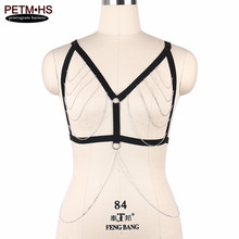 Womens Sexy Metal Body chain Harness Lingerie Belt Elastic Black Strappy Tops Cage bra Bondage Halter Bustier Gothic Fetish Wear