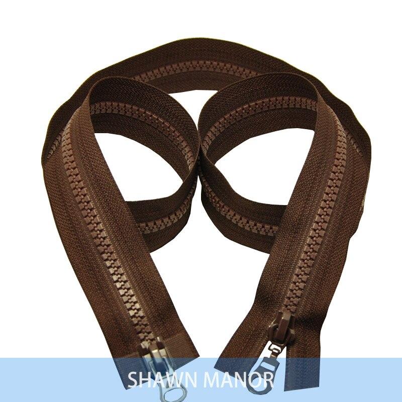Alipress 5#90 см двойные ползунки смолы застежки-молнии для шитья спальный мешок для палаток Пальто Аксессуары 3 шт - Цвет: coffee