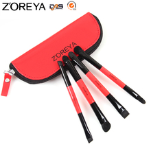 ZOREYA Brand Double Head Goat Hair Makeup Brushes Professional Travel Brush Set Tools With Make Up Zipper Bag Free Shipping
