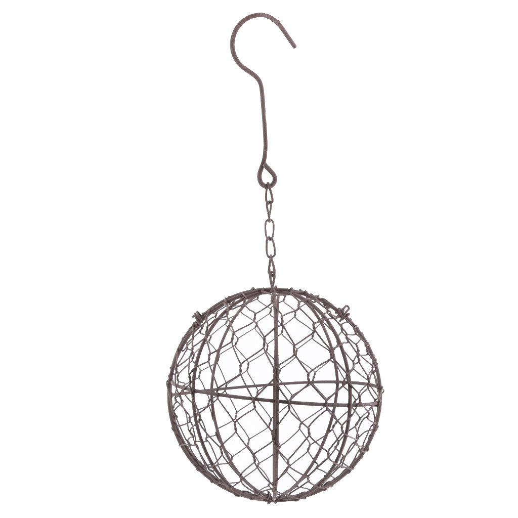 MagiDeal Rustic Romantic Iron Frame Ball Shape Succulent Pot Hanging Pot Hanging / Freestanding Metal Planter Flower Pots