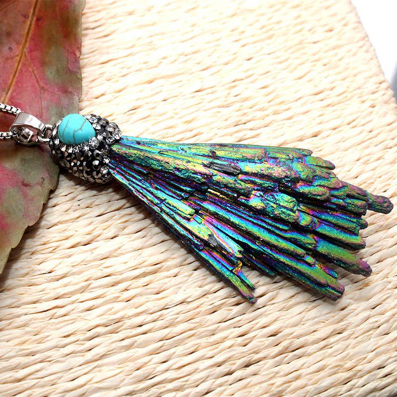 Qilmily 1 шт. натуральный камень магический синий кристалл инкрустированный циркон неправильной формы вентилятора DIY кулон ожерелье для женщин мужчин Ювелирные изделия Подарки