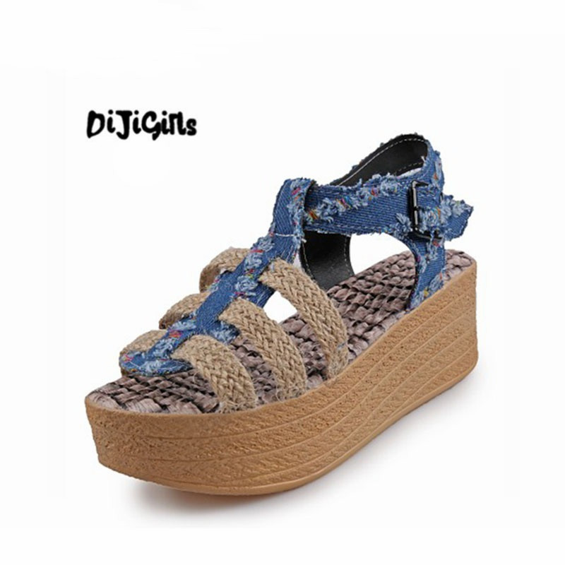 Fashion Summer Ladies Sandals Cowboy Hemp Rope Wedges Sandals Gladiators Mixed Colors Buckle Shoes for Women fashion mixed colors print luxury flowers superstar women brand buckle straps platform wedges chinese style summer sandals l27