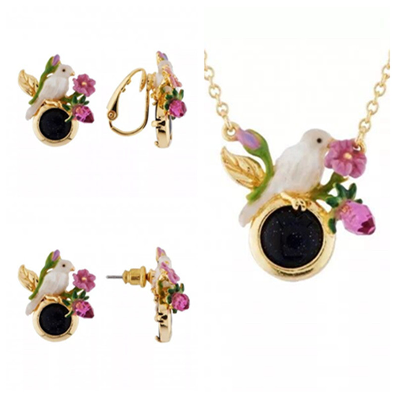 Amybaby Spring Summer Garden White Bird Purple Flower Necklace Stud Clip Earring Adjustable Ring Jewelry Party