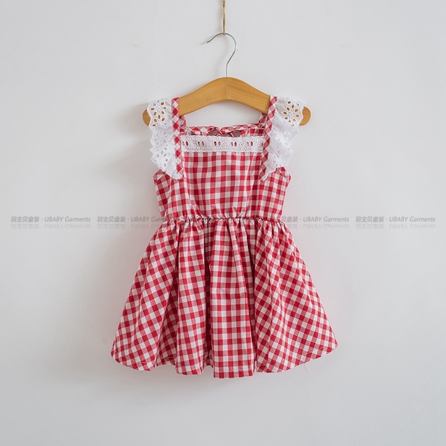 2d115c06cc40 2018 Summer Little Girls Dresses Fly Sleeve Baby Clothes Princess Plaid  Elastic Lace Child Kid s Dress