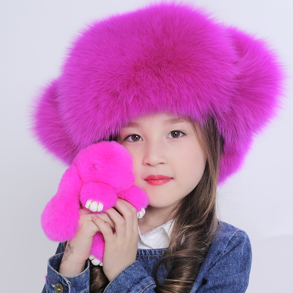 2016 Baby Fashion Warm Real Fox Fur with Cloth Hat Girls Boys Winter Ears Protector Leifeng Caps Kids Children Earflap Hats