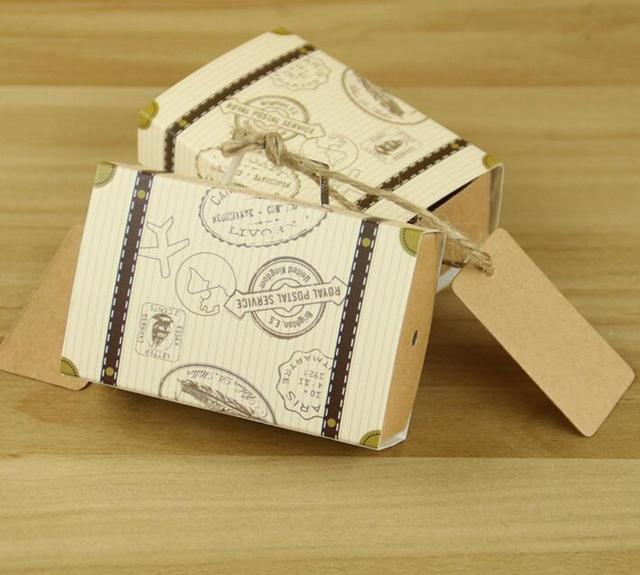 50pcs Vintage Suitcase Candy Box Aircraft Kraft Chocolate Boxes Baby Shower Wedding Favors Gift Bag