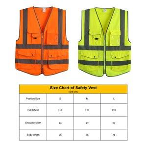 Image 5 - EN 20471 ANSI/SEA High Visibility Zipper Front Safety Vest With Reflective Strips construction safety reflective vest