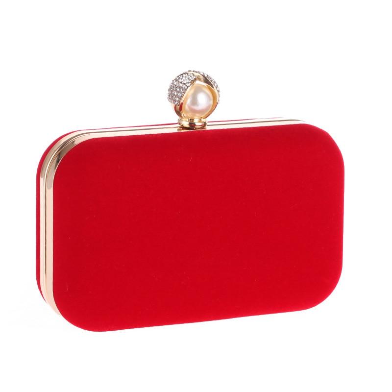 купить Mixed Candy Velvet Women Evening Bags Pearl Imitation Lady Handbags Small Day Clutches Purse Evening Bag For Wedding недорого