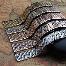 Banda de reloj de cuarzo links solid acero inoxidable correas de reloj correa de reloj de metal pulsera de la mariposa hebilla de plata 18 mm 20 mm 22 mm oro