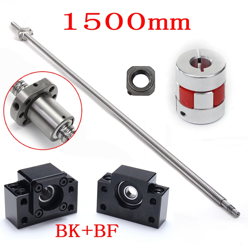Wolike RM1605 1500mm Ball Screw with BK12 BF12 Ball Screw End Supports and Coupler Set For Deep Groove Ball Bearing Linear Guide noulei ballscrew support bk17 bf17 c3 linear guide screw ball screws end supports cnc