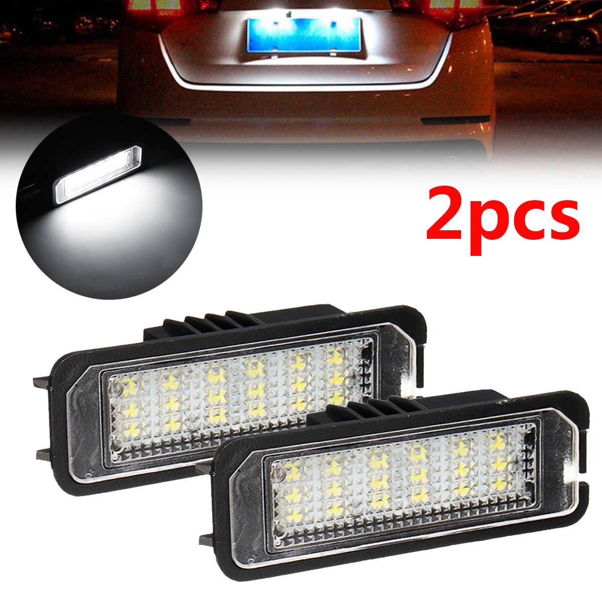 2Pcs 12V 5W LED Number License Plate Light Lamps For VW GOLF 4 6 Polo 9N For Passat Car License Plate Lights Exterior Access