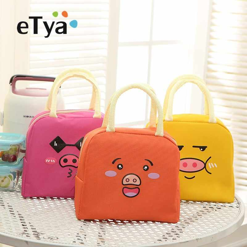 eTya Expression pig Thermal lunch box Bags Baby Food Feeding Milk Bottle Insulated Picnic Waterproof Lunch bags for kids women