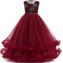 Девушки Кружева свадебное платье с цветочным принтом детское элегантное рукавов Кружева Тюль платье Girls принцессы длинное вечернее платье одежда для маленьких девочек