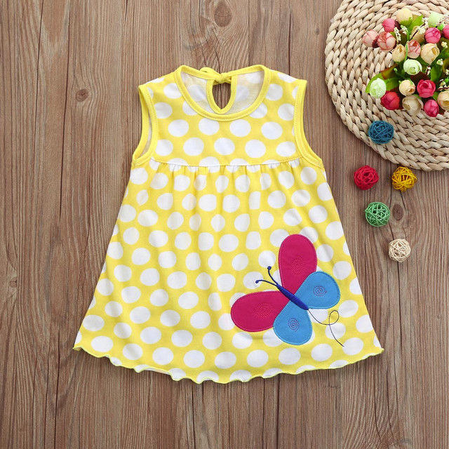 Sleeveless mini dress for girls and babies, cotton dress with floral print and thin straps for parties