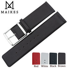 MAIKES 16mm 18mm 20mm 22mm Genuine Leather Watch Band High Quality Thin Brown Strap