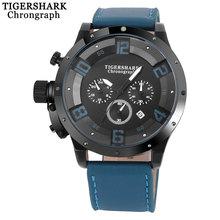 2017 TIGERSHARK original marca hombres deportes reloj hombre cronógrafo de cuarzo relojes de pulsera de moda masculina negro banda reloj calendario