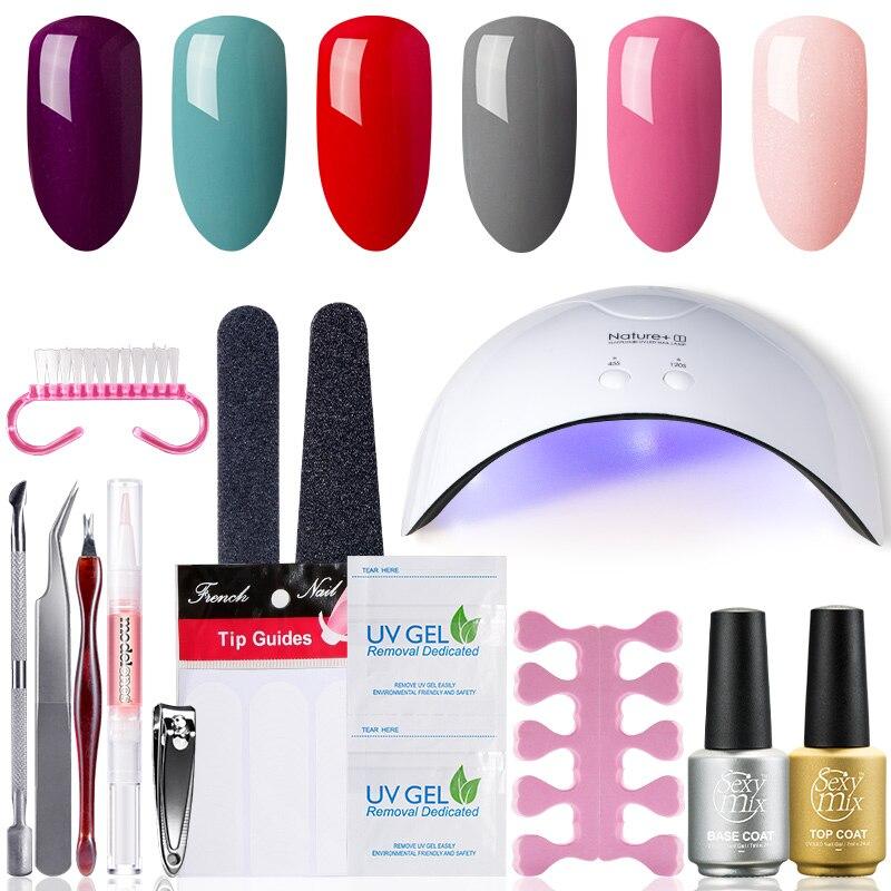Sexy Mix Profession Nail Art Tools Kits 16W UV LED Nail Dryer Lamps 3 UV Gel Polish Base Top Coat polish Gel Manicure 71pc Sets
