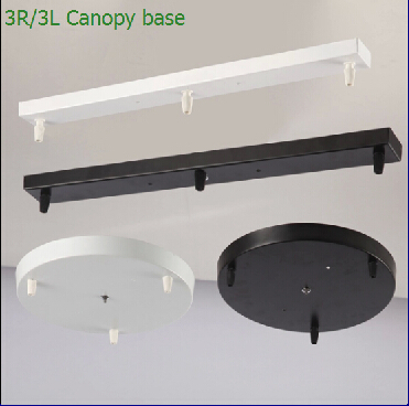 Three Lamps Chandeliers Base High-grade Lighting Accessories black white Round Rectangular Ceiling base rose canopy Plate