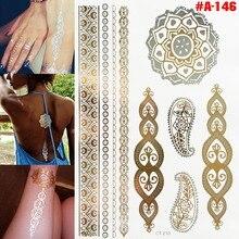 #A-146/ Design Flash Tattoo Removable Waterproof Gold Tattoo Metallic Temporary Tattoo Stickers Temporary Body Art Tatoo