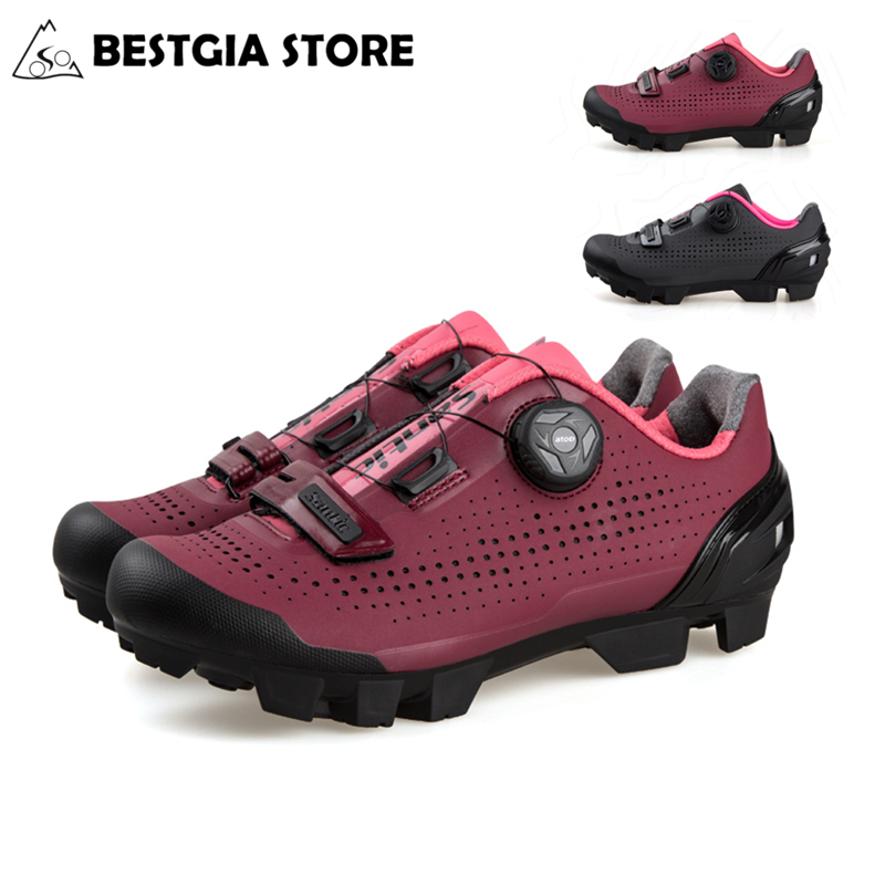 Santic Hot Women Cycling Shoes Professional MTB Mountain Bike Breathable Shoes Rotating Lock Sneakers Riding Sports