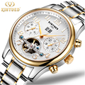 Kinyued Luxury Mens Watch Mechanical Automatic Tourbillon Skeleton Men Watches Gold Stainless Steel Band Auto Date Wristwatch