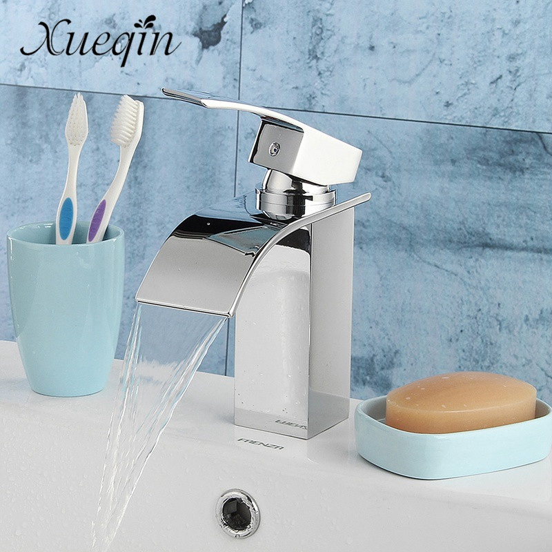 Xueqin Bathroom Waterfall Basin Sink Faucet Chrome Polish Single Handle Single Hole Mixer Tap Deck Mounted Cold And Hot xogolo fashion waterfall faucet for bathroom chrome single hole basin faucet mixer new arrival cold and hot sink tap