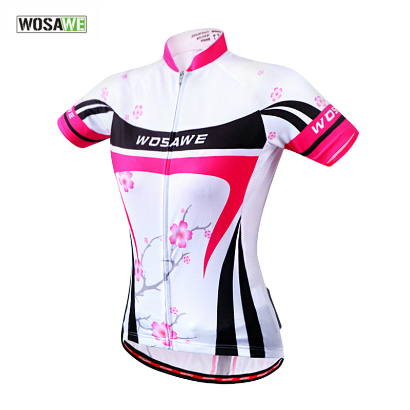 Wosawe deportes de verano de las mujeres de manga corta jerseys de ciclo de la b