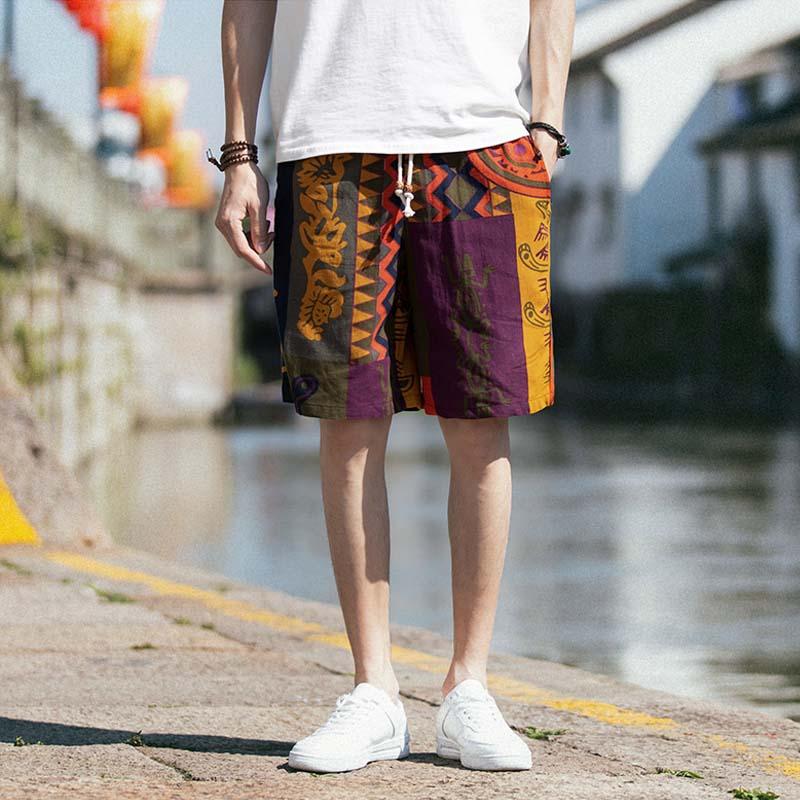 Men's Linen Shorts Japanese Casual Shorts Men Drawstring Printed Streetwear Mens Shorts Summer Men Shorts Cotton Linen Clothes